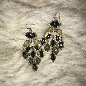 Black, slate, grey chandelier earrings
